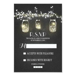 Lights mason jars chalkboard RSVP cards 9 Cm X 13 Cm Invitation Card