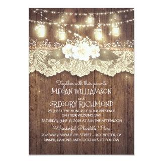 Lights Mason Jars Lace Wood Rustic Barn Wedding 13 Cm X 18 Cm Invitation Card