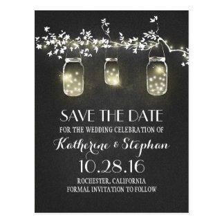 lights & mason jars rustic SAVE THE DATE postcard