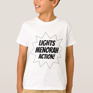 Lights Menorah Action - Black T-Shirt