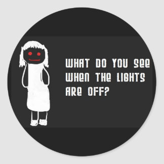 Lights off classic round sticker