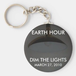 Lights On / Off - Dim the Lights for Earth Hour Basic Round Button Key Ring