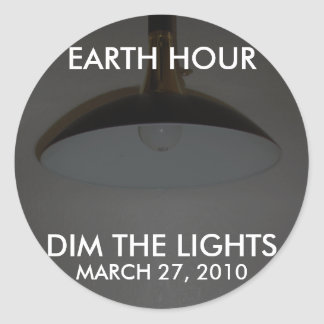Lights On / Off - Dim the Lights for Earth Hour Round Sticker