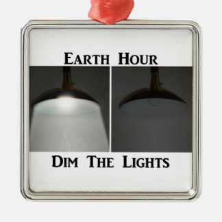 Lights On / Off - Dim the Lights for Earth Hour Silver-Colored Square Decoration