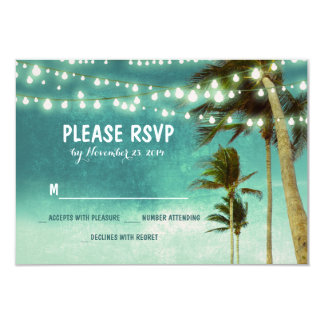 lights & palm trees beach teal wedding RSVP cards 9 Cm X 13 Cm Invitation Card