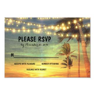 lights palms beach sunset wedding RSVP cards 9 Cm X 13 Cm Invitation Card