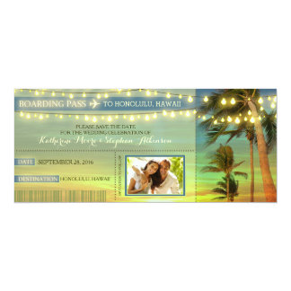 Lights Palms Save The Date Boarding Pass Tickets Card