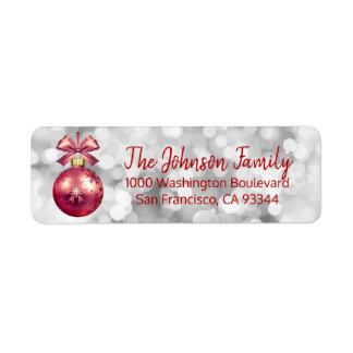 Lights Red Ornament Christmas Return Address Return Address Label