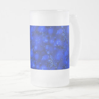 Lights & Snowflakes, Blue - Christmas Frosted Glass Beer Mug