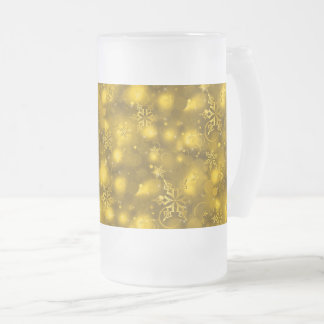 Lights & Snowflakes, Gold - Christmas Frosted Glass Beer Mug