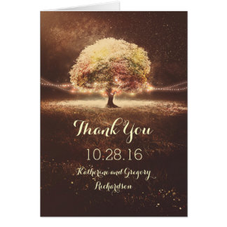 Lights Tree Fall Wedding Thank You Cards