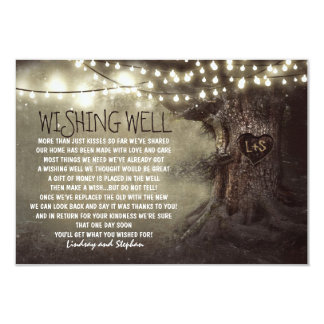 lights tree wedding wishing well rustic cards 9 cm x 13 cm invitation card