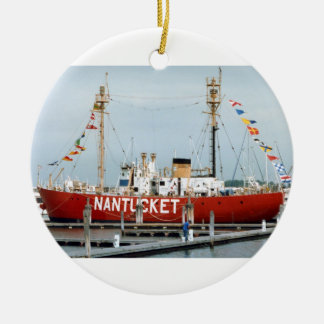 Lightship Nantucket with Glorious Flags Ceramic Ornament