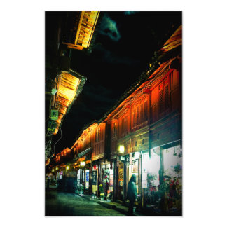 Lijiang Old Town Night Market in China Photo Print