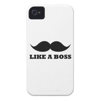 LIKE A BOSS, moustache design iPhone 4 Case-Mate Case
