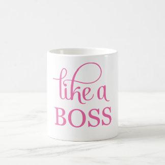 Like a Boss Pink Basic White Mug