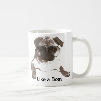 Like a Boss Pug in Glasses Mug