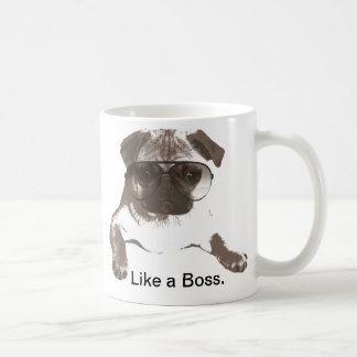 Like a Boss Pug in Glasses Mug