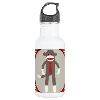 Like a Boss Sock Monkey with Tie on Red Stripes 532 Ml Water Bottle