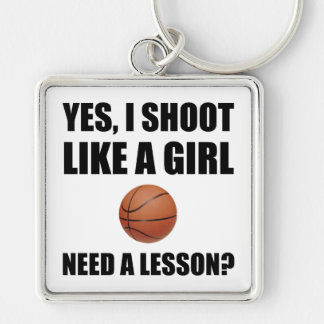 Like A Girl Basketball Silver-Colored Square Key Ring