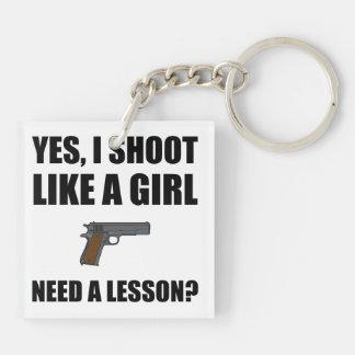 Like A Girl Gun Shoot Double-Sided Square Acrylic Key Ring