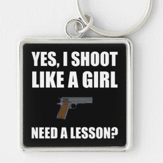 Like A Girl Gun Shoot Silver-Colored Square Key Ring