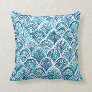 LIKE A MERMAID Nautical Fish Scales Pattern Cushion