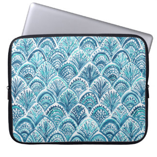 LIKE A MERMAID Nautical Fish Scales Pattern Laptop Computer Sleeves