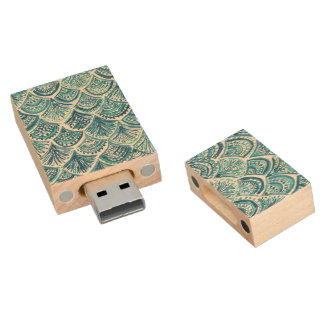 LIKE A MERMAID Nautical Fish Scales Pattern Wood USB Flash Drive