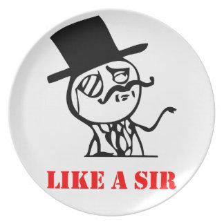 Like a sir - meme party plate
