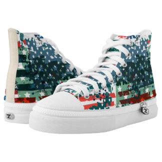 Like an American. USA grunge flag Printed Shoes