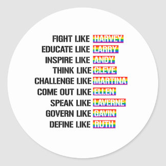 Like Gay Activists - Fight Like Harvey and Define  Classic Round Sticker
