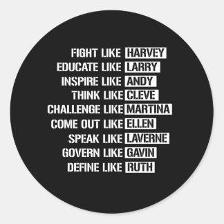 Like Gay Activists - Fight Like Harvey Classic Round Sticker
