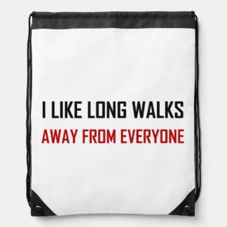 Like Long Walks Away From Everyone Drawstring Bag
