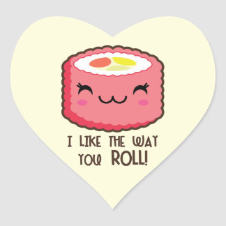 Like The Way You Sushi Roll Heart Sticker