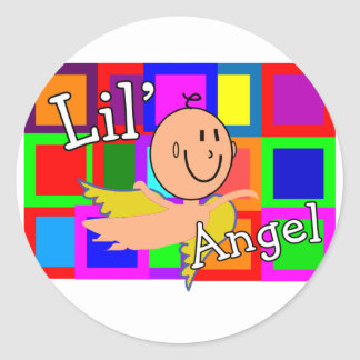 Lil Angel MOSAIC With Angel Baby--Adorable Round Sticker