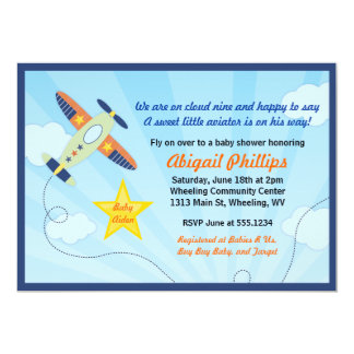 Lil' Aviator Airplane Baby Shower Invitations