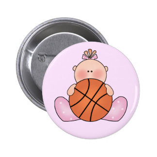 Lil Basketball Baby Girl 6 Cm Round Badge
