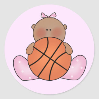 Lil Basketball Baby Girl - Ethnic Classic Round Sticker