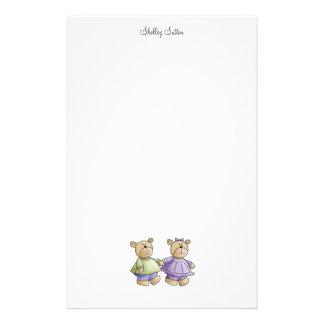Lil' Bears · Baby Twins Green & Purple Stationery Design