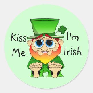 Lil Blarney  Kiss Me I'm Irish Round Sticker