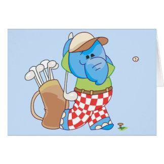 Lil Blue Elephant Golfing Card