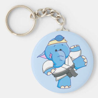 Lil Blue Elephant Karate Basic Round Button Key Ring
