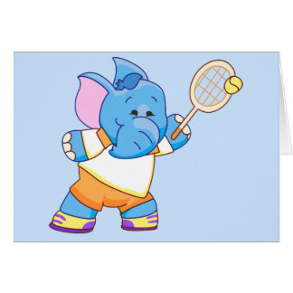 Lil Blue Elephant Tennis Card