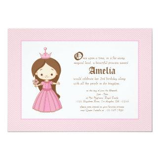 "Li'l Brunette Princess Royal Birthday Invitation 5"" X 7"" Invitation Card"