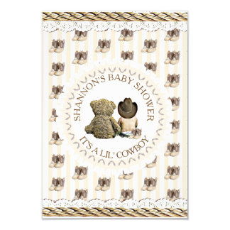 Lil' Cowboy boy Country and Western Baby Shower Card