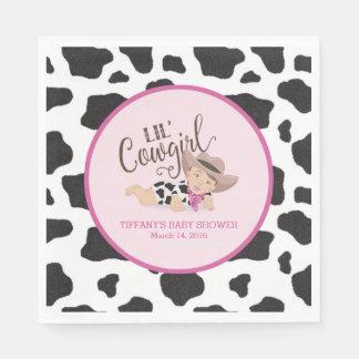 Lil' Cowgirl Baby Shower Napkins Brunette/Brown Paper Napkin