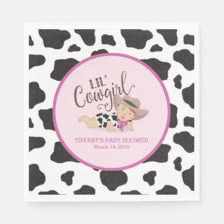Lil' Cowgirl Baby Shower Napkins - Redhead Paper Napkin