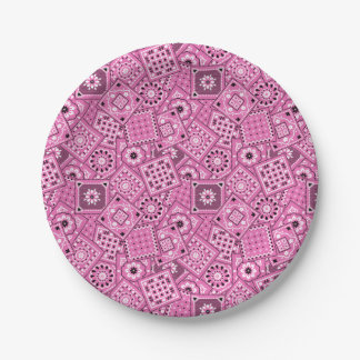 Lil' Cowgirl Baby Shower Pink Bandanna Plates 7 Inch Paper Plate