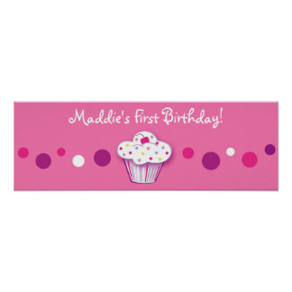 Lil Cupcake Dots Personalized Birthday Banner Poster